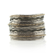 Mixed Media Wrap Bracelet In Gunmetal, Size Large