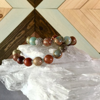 Gemstone Sparkle Stretch Bracelet set with Sediment Jasper