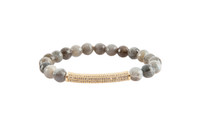 Gemstone & Rhinestone Bar Stretch Bracelet with Labradorite