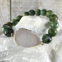 Gemstone & Druzy Stretch Bracelet with African Turquoise