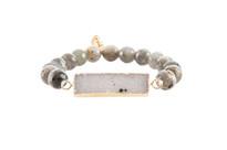 Gemstone & Druzy Bar Stretch Bracelet with Labradorite