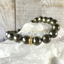 Gemstone Sparkle Stretch Bracelet with Pyrite