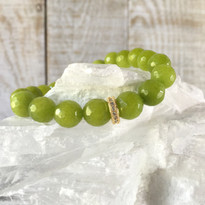 Gemstone Sparkle Stretch Bracelet with Green Agate