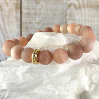 Gemstone Sparkle Stretch Bracelet with Matte Rose Agate