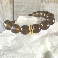 Gemstone Sparkle Stretch Bracelet with Grey Agate