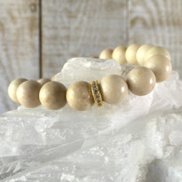 Gemstone Sparkle Stretch Bracelet with Cream Agate