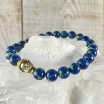 Gemstone & Buddha Stretch Bracelet with Blue Agate