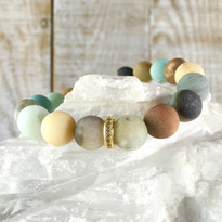 Gemstone Sparkle Stretch Bracelet with Matte Amazonite