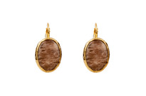 Mantra Oval Earrings with Golden Agate