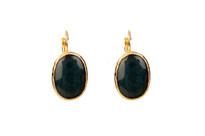 Mantra Oval Earrings with Navy Agate