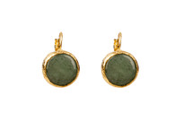 Mantra Circle Earrings with Labradorite