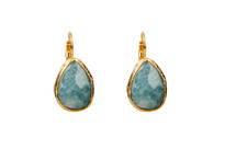 Mantra Teardrop Earrings with Aqua Agate