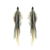 Feather Earrings in Army Shimmer