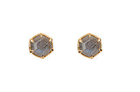 Hexagon Studs with Labradorite