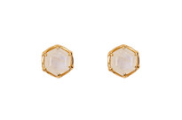 Hexagon Studs with Moonstone