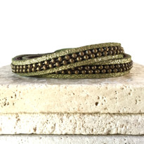 Hunter Leather Wrap Bracelet in Olive Shimmer