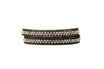 Hunter Leather Wrap Bracelet in Charcoal Shimmer