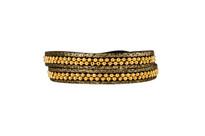 Hunter Leather Wrap Bracelet in Black Shimmer