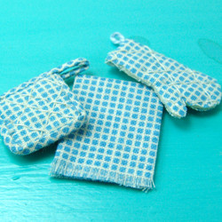 Dollhouse Miniature Oven Mitts, Pot Holder and Towel Set in Blue Check - 1/12 scale