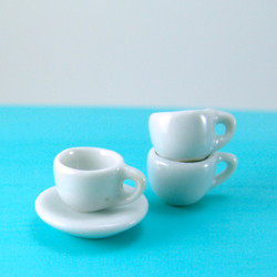 Dollhouse Miniature Coffee Cup and Saucer - 1/12 scale