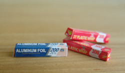 Dollhouse Miniature Plastic Wrap and Aluminum Foil - 1/12 scale