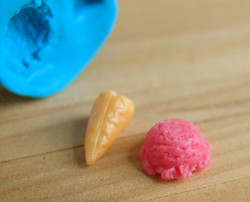 Miniature Ice Cream Scoop/Cone Mold for 1/12 Scale Projects - Flexible Silicone