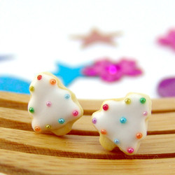 Christmas Earrings // MADE TO ORDER // Christmas Tree Sugar Cookie Earrings in Snow White