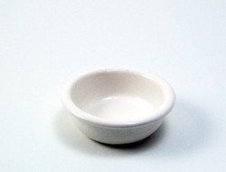 Dollhouse Miniature Bowl, White Enamel - 1/12 scale