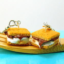 Food Jewelry Campfire S'mores MADE TO ORDER Miniature Food Earrings