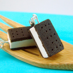 Food Jewelry Ice Cream Earrings - MADE TO ORDER Ice Cream Sandwiches Miniature Food Earrings