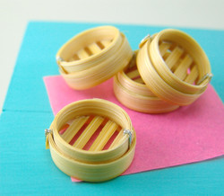 Dollhouse Miniature Bamboo Steamer, Dim Sum Basket - 1/12 scale