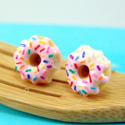 Donut Earrings with Rainbow Sprinkles Strawberry Icing // MADE TO ORDER