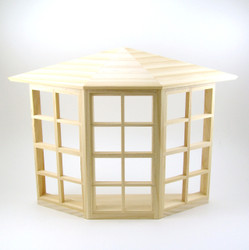 Dollhouse Miniature Bay Window, Unfinished Wood - 1/12 scale
