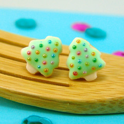 Christmas Earrings // Christmas Tree Sugar Cookie Earrings in Cool Mint // MADE TO ORDER