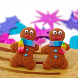 Christmas Earrings // Gingerbread Man Earrings MADE TO ORDER // cookie earrings // post earrings stocking stuffers