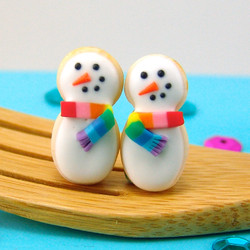 Christmas Earrings // Snowman Earrings // sugar cookie post earrings // stocking stuffers