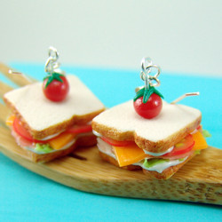 Sandwich Earrings Ham and Cheese Dangly Earrings - Food Jewelry MADE TO ORDER