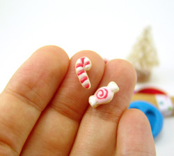 Polymer Clay Mold - Flexible Silicone Dollhouse Cookie Mold - Christmas Candy and Candy Cane for 1/12 Scale and Food Jewelry Projects