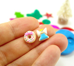 Polymer Clay Mold - Flexible Silicone Dollhouse Cookie Mold - Christmas Angel and Wreath for 1/12 Scale and Food Jewelry Projects