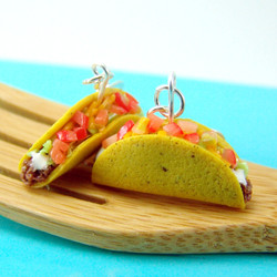 Food Earrings Taco Earrings // Dangly Earrings // MADE TO ORDER