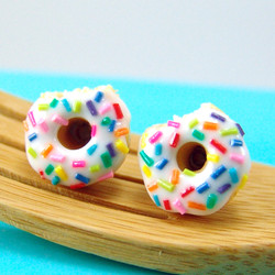 Donut Earrings with Rainbow Sprinkles Vanilla Bean Icing // MADE TO ORDER