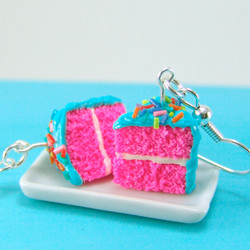 Cake Earrings - Blue and Pink Party Girl Cake Earrings Food Jewelry Food Earrings - MADE TO ORDER