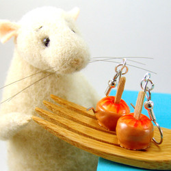 Caramel Apple Earrings - Miniature Food Jewelry MADE TO ORDER Miniature Sweets
