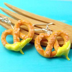 Food Jewelry // Pretzel Earrings - MADE TO ORDER Miniature Food Earrings