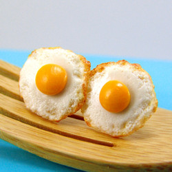 Egg Earrings - Fried Egg Jewelry Post Earrings MADE TO ORDER