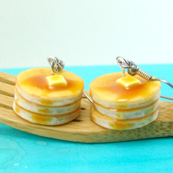 Food Earrings // Buttermilk Pancake Earrings // MADE TO ORDER // Food Jewelry