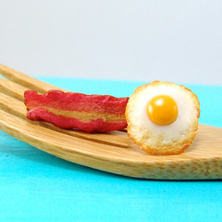 Egg and Bacon Earrings // Post Earrings // READY TO SHIP // Food Jewelry
