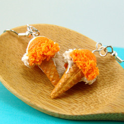 Ice Cream Earrings // Creamsicle Ice Cream Cones Food Jewelry // MADE TO ORDER Miniature Food Earrings