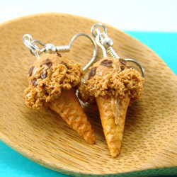 Ice Cream Earrings // Peanut Butter Cup Ice Cream // MADE TO ORDER Miniature Food Earrings