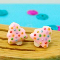 Christmas Earrings // Christmas Tree Sugar Cookie Earrings in Fairy Pink // MADE TO ORDER
